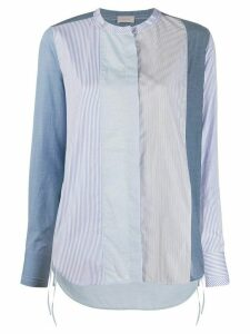 MRZ striped mandarin collar shirt - Blue