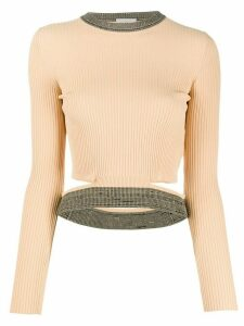 MRZ cropped ribbed top - NEUTRALS