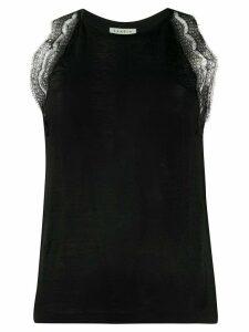 Sandro Paris lace panel tank top - Black