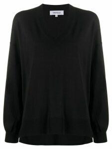 Enföld oversized V-neck jumper - Black