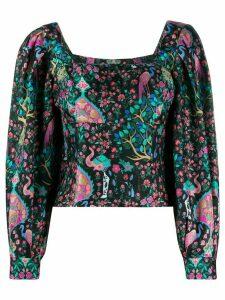 Sandro Paris printed silk blouse - Black
