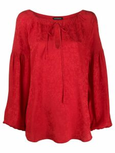 Wandering cherry blossom-jacquard balloon-sleeved blouse - Red