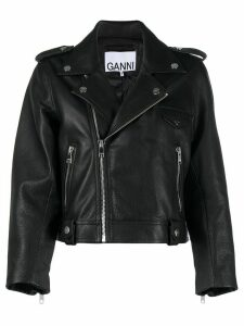 GANNI cropped biker jacket - Black