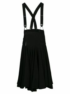 Y's suspender-strap gathered midi skirt - Black