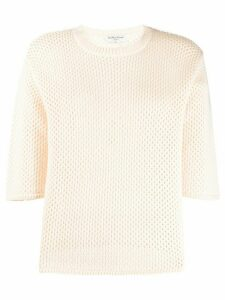 YMC open-knit cotton top - NEUTRALS
