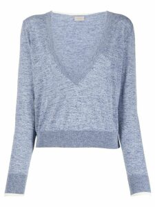 MRZ cropped plunging-neck pullover - Blue
