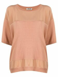 Max & Moi panelled 3/4 sleeves top - NEUTRALS