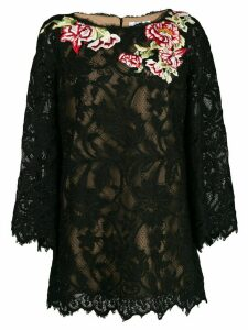 Marchesa floral lace embroidered blouse - Black