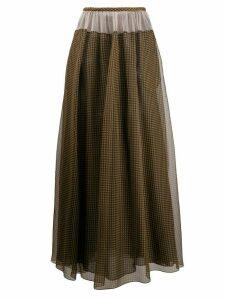 Fendi Vichy pattern organza skirt - Brown
