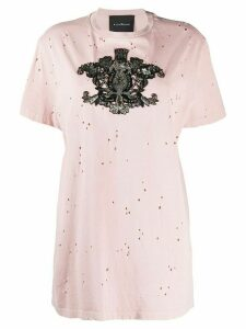 John Richmond crest-embellished distressed T-shirt - PINK
