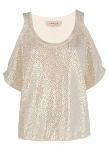 Twin-Set sequinned top - NEUTRALS