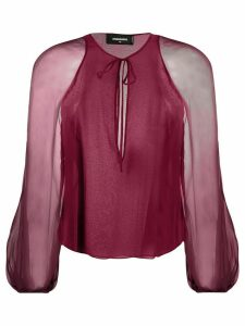 Dsquared2 sheer sleeves blouse - PURPLE