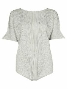 Pleats Please Issey Miyake pinstripe pleated top - White