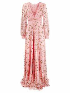 LoveShackFancy sequin-embroidered v-neck dress - PINK