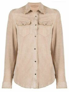 Salvatore Santoro leather long sleeve shirt - NEUTRALS