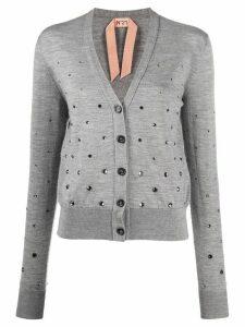 N°21 crystal-embellished cardigan - Grey