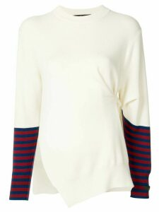 Rokh striped-sleeve asymmetric jumper - White