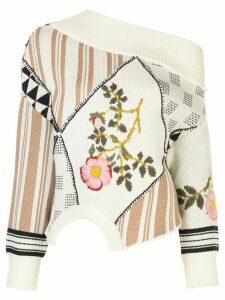 Monse off-shoulder embroidered jumper - NEUTRALS
