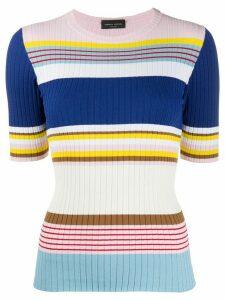 Roberto Collina striped short-sleeve jumper - White