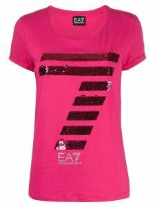 Ea7 Emporio Armani rhinestone logo T-shirt - PINK