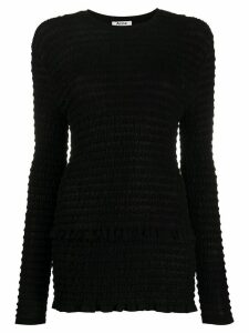 Acne Studios long-sleeved seersucker top - Black