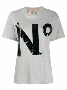 Nº21 logo print oversized T-shirt - Grey