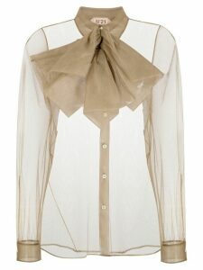 Nº21 sheer bow-embellished blouse - NEUTRALS