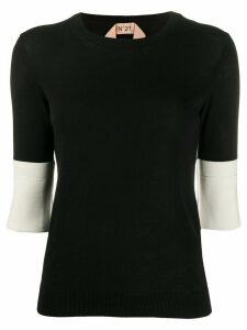 Nº21 contrast cuffs knitted top - Black
