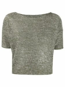 Roberto Collina metallic knitted cropped top - Green