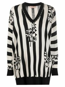 Twin-Set striped embellished jumper - NEUTRALS