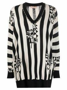Twin-Set striped embellished jumper - NEUTRALS