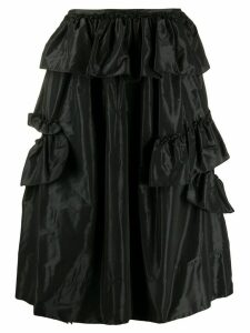Simone Rocha ruffled satin midi skirt - Black