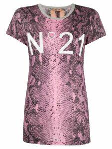 Nº21 logo detail snakeskin T-shirt - PINK