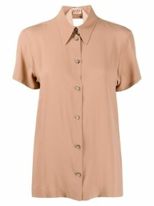 Nº21 pointed collar short-sleeved blouse - NEUTRALS