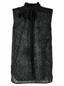Nº21 brooch detail pussy bow blouse - Black