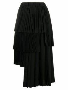 Nº21 asymmetric pleated midi skirt - Black