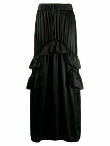 Simone Rocha ruffle-trimmed satin maxi skirt - Black