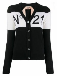 Nº21 logo detail cardigan - Black