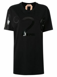 Nº21 laminated logo oversized T-shirt - Black