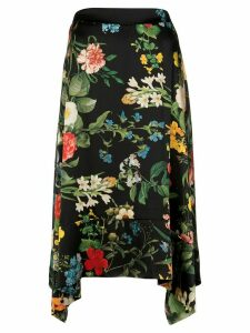 Madison. Maison Laura floral-print silk skirt - Black