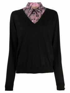 Nº21 snake print layered jumper - Black