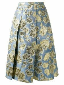 Nº21 floral jacquard A-line skirt - Blue