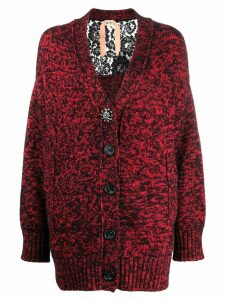 Nº21 lace panel detail cardigan - Red