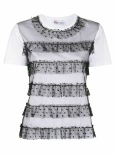 RedValentino short sleeve ruffled trim T-shirt - White
