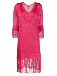 Twin-Set fringed kaftan dress - PINK