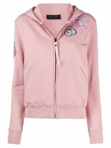 Mr & Mrs Italy embroidered detail zipped hoodie - PINK