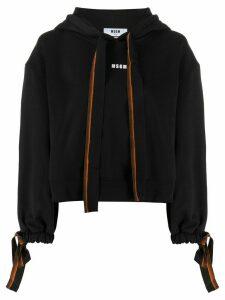 MSGM logo print tie detail hoodie - Black