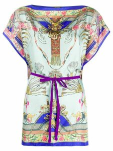 Etro contrast print belted waist blouse - Blue
