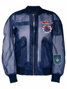 Mr & Mrs Italy embroidered detail sheer bomber jacket - Blue