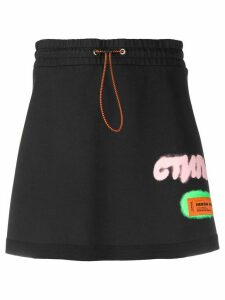 Heron Preston logo patch A-line skirt - Black